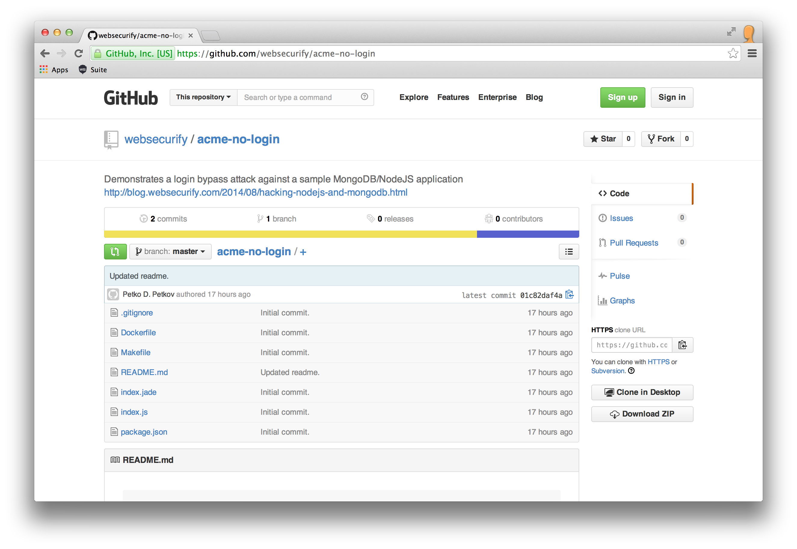 github screenshot of no-login