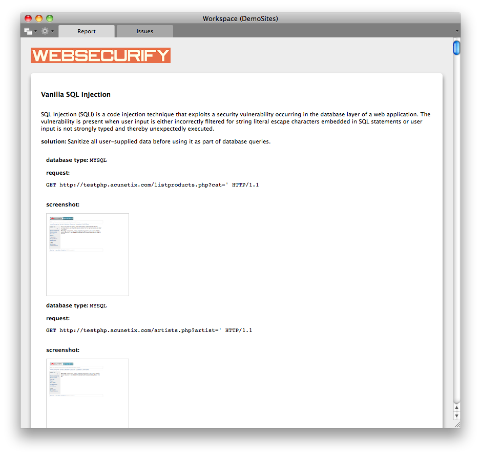 Automatic Vulnerability Screenshot Taking with Websecurify 0 7